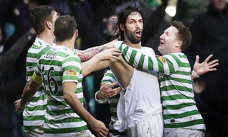 Celtic's Georgios Samaras, second right, scored against Aberdeen in the Scottish Premier League
