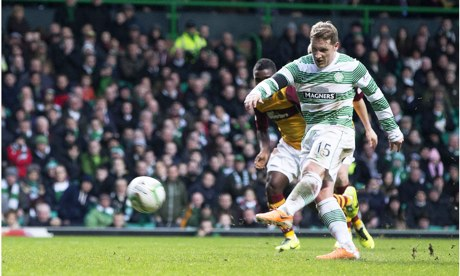 Celtic's Kris Commons scores a penalty against Motherwell in the Scottish Premiership at Celtic Park