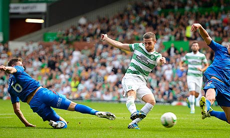 Celtic's Adam Matthews, second left, scores the equalising goal against Inverness in the Premiership