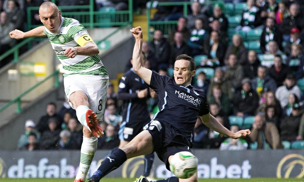 Celtic's Scott Brown scores his side's second goal of the night against Dundee at Celtic Park on Fri